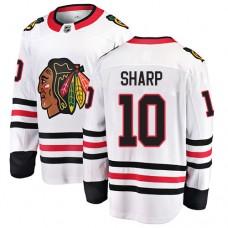 Chicago Blackhawks #10 Patrick Sharp White Away Fanatics Branded Breakaway Authentic Jersey
