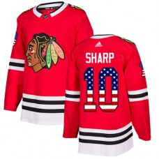 Chicago Blackhawks #10 Patrick Sharp USA Flag Fashion Red Authentic Jersey