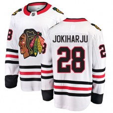Youth Chicago Blackhawks #28 Henri Jokiharju White Away Fanatics Branded Breakaway Authentic Jersey