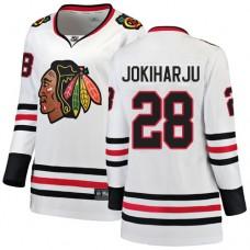 Women's Chicago Blackhawks #28 Henri Jokiharju Away Fanatics Branded Breakaway White Authentic Jersey
