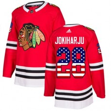 Youth Chicago Blackhawks #28 Henri Jokiharju USA Flag Fashion Red Authentic Jersey