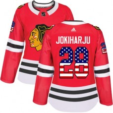 Women's Chicago Blackhawks #28 Henri Jokiharju USA Flag Fashion Red Authentic Jersey