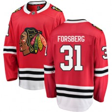 Youth Chicago Blackhawks #31 Anton Forsberg Red Home Fanatics Branded Breakaway Authentic Jersey