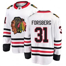 Youth Chicago Blackhawks #31 Anton Forsberg White Away Fanatics Branded Breakaway Authentic Jersey