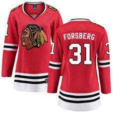 Women's Chicago Blackhawks #31 Anton Forsberg Red Home Fanatics Branded Breakaway Authentic Jersey