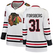 Women's Chicago Blackhawks #31 Anton Forsberg Away Fanatics Branded Breakaway White Premier Jersey