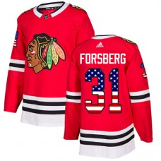 Youth Chicago Blackhawks #31 Anton Forsberg USA Flag Fashion Red Authentic Jersey