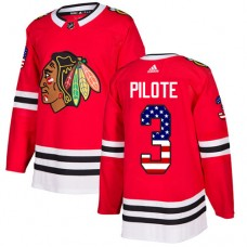 Youth Chicago Blackhawks #3 Pierre Pilote USA Flag Fashion Red Authentic Jersey