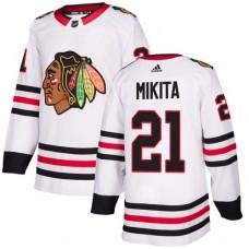 Chicago Blackhawks #21 Stan Mikita Away White Authentic Jersey