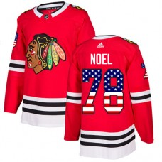 Chicago Blackhawks #78 Nathan Noel USA Flag Fashion Red Authentic Jersey