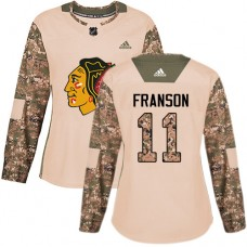 Women's Chicago Blackhawks #11 Cody Franson Camo Veterans Day Practice Authentic Jersey