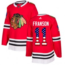 Youth Chicago Blackhawks #11 Cody Franson USA Flag Fashion Red Authentic Jersey