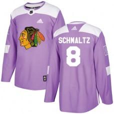 Chicago Blackhawks #8 Nick Schmaltz Fights Cancer Practice Purple Authentic Jersey