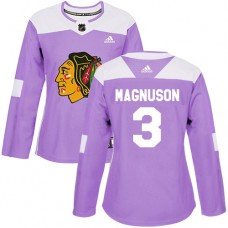 Women's Chicago Blackhawks #3 Keith Magnuson Fights Cancer Practice Purple Authentic Jersey