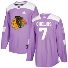 Chicago Blackhawks #7 Chris Chelios Fights Cancer Practice Purple Authentic Jersey