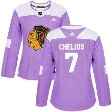 Women's Chicago Blackhawks #7 Chris Chelios Fights Cancer Practice Purple Authentic Jersey