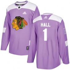 Youth Chicago Blackhawks #1 Glenn Hall Fights Cancer Practice Purple Authentic Jersey
