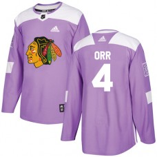Chicago Blackhawks #4 Bobby Orr Fights Cancer Practice Purple Authentic Jersey