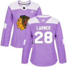 Women's Chicago Blackhawks #28 Steve Larmer Fights Cancer Practice Purple Authentic Jersey