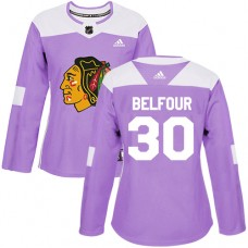 Women's Chicago Blackhawks #30 ED Belfour Fights Cancer Practice Purple Authentic Jersey