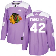 Chicago Blackhawks #42 Gustav Forsling Fights Cancer Practice Purple Authentic Jersey