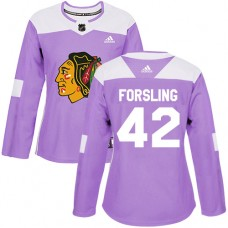 Women's Chicago Blackhawks #42 Gustav Forsling Fights Cancer Practice Purple Authentic Jersey