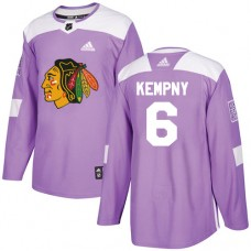 Youth Chicago Blackhawks #6 Michal Kempny Fights Cancer Practice Purple Authentic Jersey