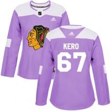 Women's Chicago Blackhawks #67 Tanner Kero Fights Cancer Practice Purple Authentic Jersey