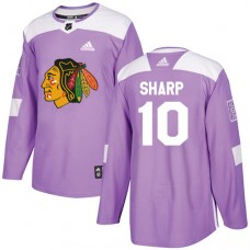 Youth Chicago Blackhawks #10 Patrick Sharp Fights Cancer Practice Purple Authentic Jersey