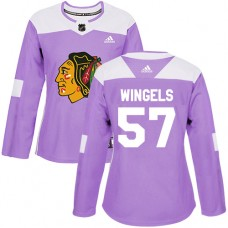 Women's Chicago Blackhawks #57 Tommy Wingels Fights Cancer Practice Purple Authentic Jersey