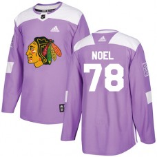 Youth Chicago Blackhawks #78 Nathan Noel Fights Cancer Practice Purple Authentic Jersey