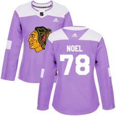 Women's Chicago Blackhawks #78 Nathan Noel Fights Cancer Practice Purple Authentic Jersey