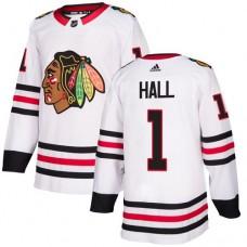 Chicago Blackhawks #1 Glenn Hall Away White Authentic Jersey
