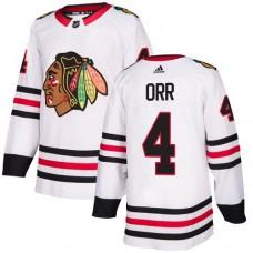 Chicago Blackhawks #4 Bobby Orr Away White Authentic Jersey