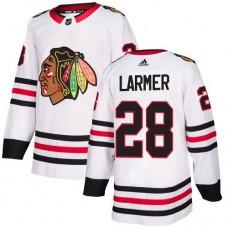 Chicago Blackhawks #28 Steve Larmer Away White Authentic Jersey