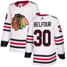 Chicago Blackhawks #30 ED Belfour Away White Authentic Jersey