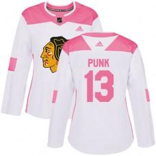 Women's Chicago Blackhawks #13 CM Punk Pink-White Fashion Authentic Jersey