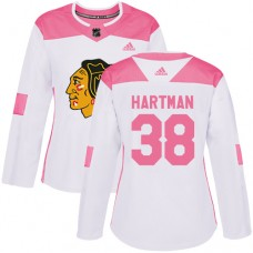 Women's Chicago Blackhawks #38 Ryan Hartman Pink-White Fashion Authentic Jersey