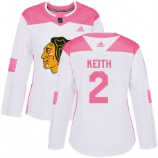 Women's Chicago Blackhawks #2 Duncan Keith Pink-White Fashion Authentic Jersey