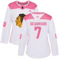 Women's Chicago Blackhawks #7 Brent Seabrook Pink-White Fashion Authentic Jersey