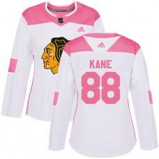 Women's Chicago Blackhawks #88 Patrick Kane Pink-White Fashion Authentic Jersey
