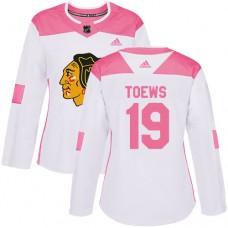 Women's Chicago Blackhawks #19 Jonathan Toews Pink-White Fashion Authentic Jersey