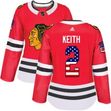 Women's Chicago Blackhawks #2 Duncan Keith USA Flag Fashion Red Authentic Jersey