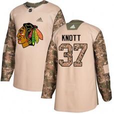 Chicago Blackhawks #37 Graham Knott Veterans Day Practice Camo Authentic Jersey