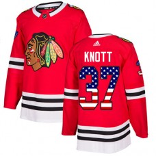 Chicago Blackhawks #37 Graham Knott USA Flag Fashion Red Authentic Jersey