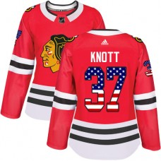 Women's Chicago Blackhawks #37 Graham Knott USA Flag Fashion Red Authentic Jersey