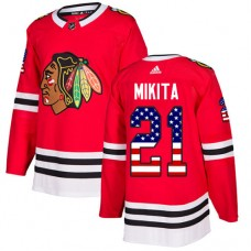 Youth Chicago Blackhawks #21 Stan Mikita USA Flag Fashion Red Authentic Jersey