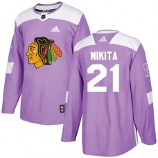 Youth Chicago Blackhawks #21 Stan Mikita Fights Cancer Practice Purple Authentic Jersey