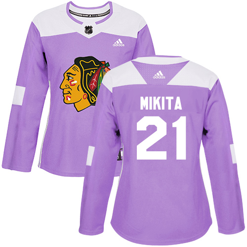 Women s Chicago Blackhawks  21 Stan Mikita Fights Cancer Practice Purple Authentic  Jersey f047f9a1e
