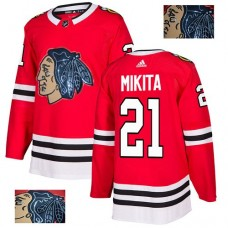 Chicago Blackhawks #21 Stan Mikita Black Indians-Face Red Authentic Jersey